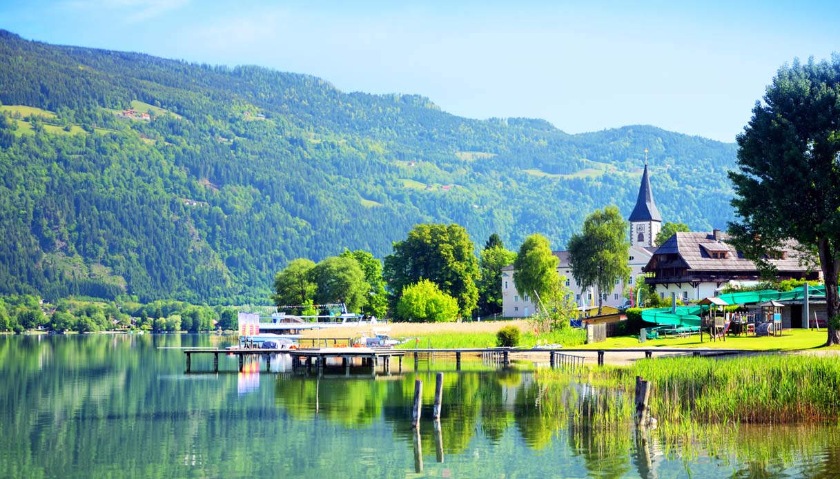 Lake Ossiach (Ossiacher See) is a lake in the Carinthia, Austria. Composite photo